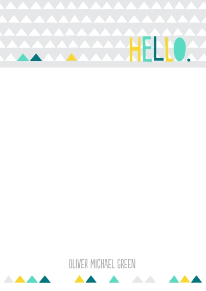 For Him 5x7 Personal Stationery, Card & Stationery -Hello Triangles