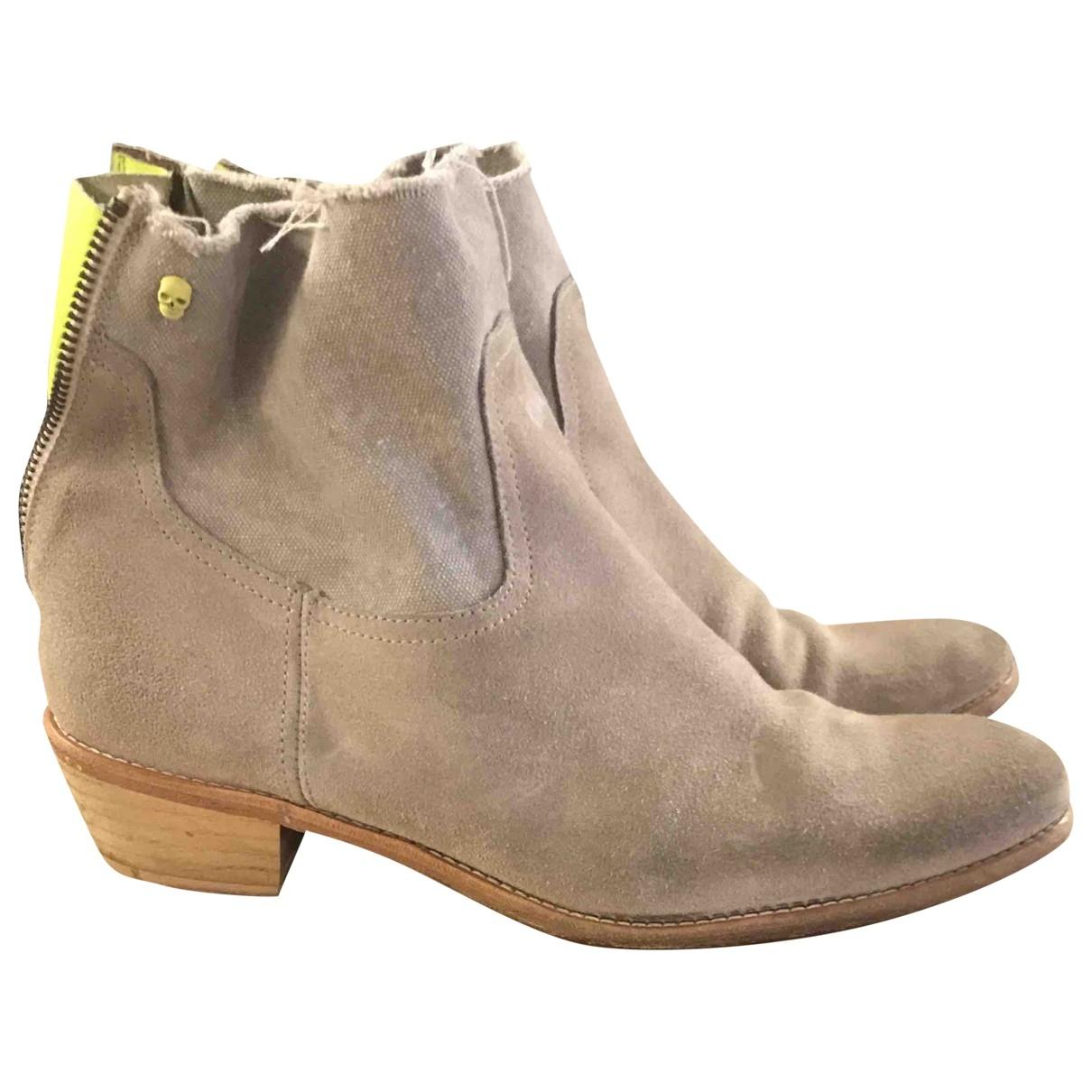 Zadig & Voltaire - Boots Teddy pour femme en suede - beige