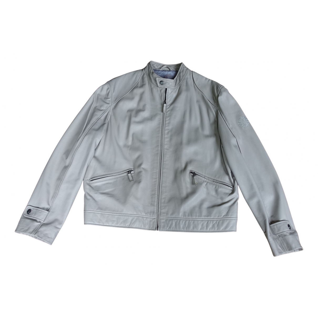 Versace N Grey Leather jacket  for Men 56 IT