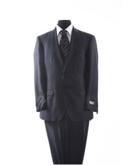 Black Mens 2 Piece 2 Button Suit
