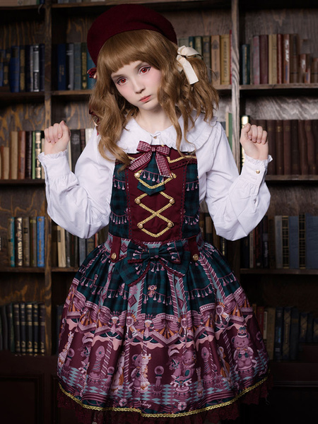 Milanoo Classic Lolita JSK Jumper Skirt Neverland Bear Printed Pleated Fuchsia Lolita Dresses Original Design