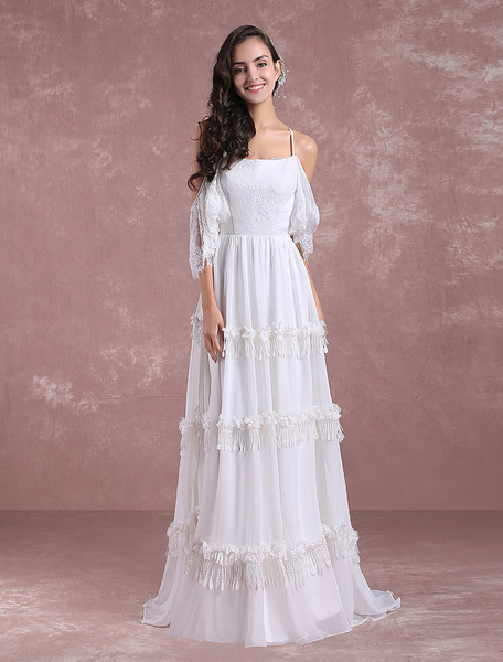 Milanoo Boho Wedding Dresses 2020 Summer Lace Chiffon Beach Bridal Gown Off The Shoulder Back Cross Tiered Tassels Bridal Dress With Train
