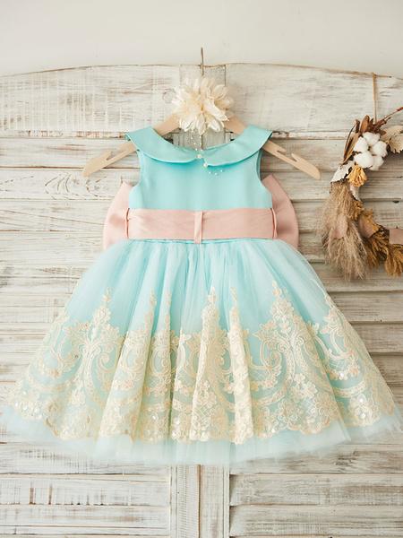 Milanoo Vestidos de niña de las flores Cuello sin mangas Peter Pan Lazos sin mangas Vestidos formales para niños