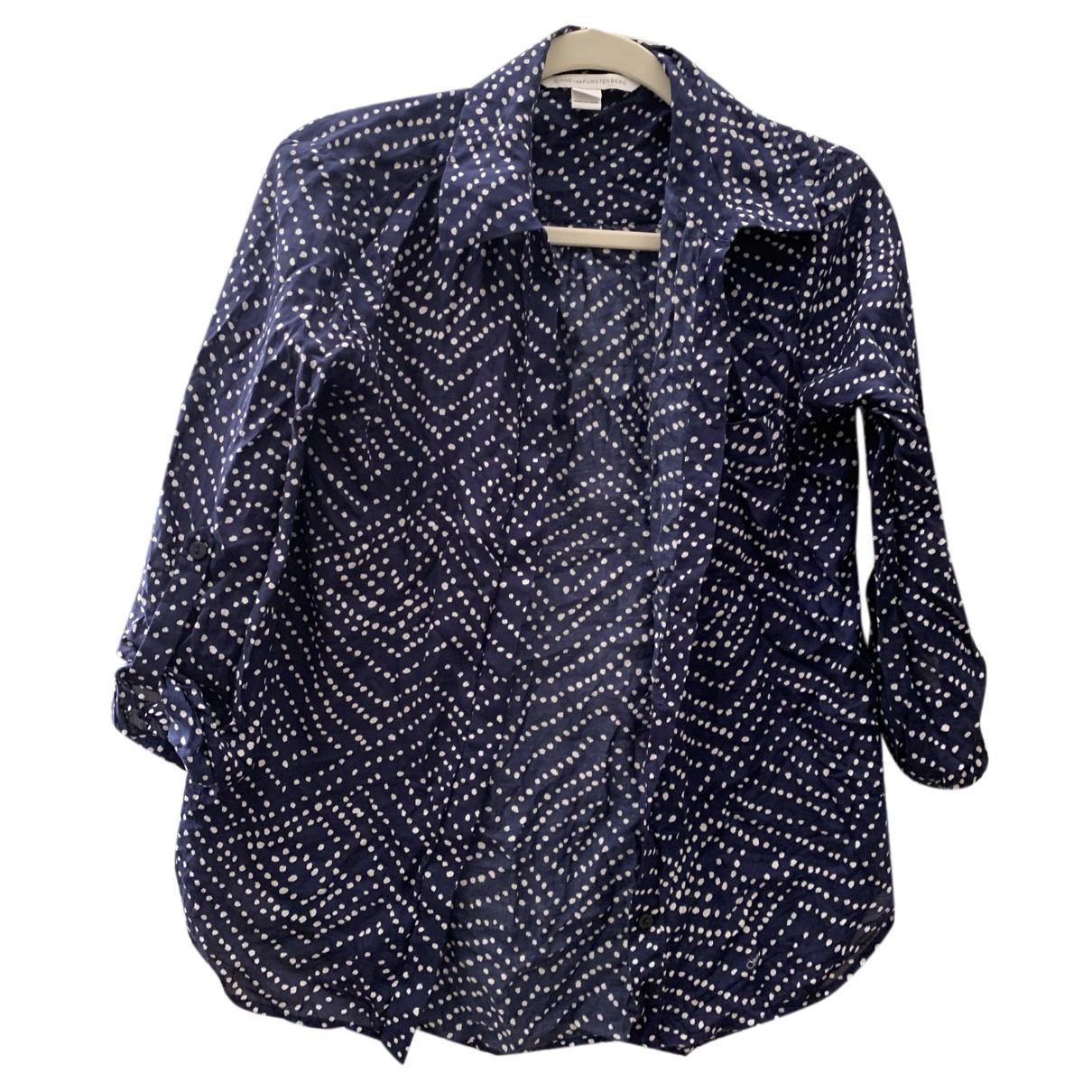 Diane Von Furstenberg - Top   pour femme en coton - marine