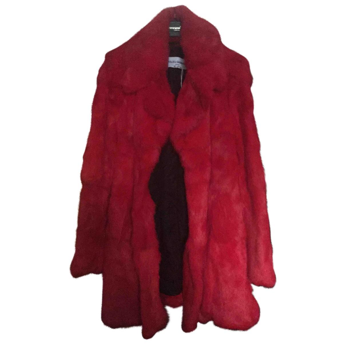 Dolce & Gabbana - Manteau   pour femme en cuir - rouge