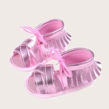 Baby Girl Fringe Decor Cross Strap Sandals
