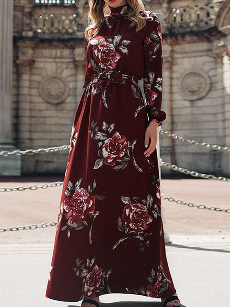 Ericdress Print Long Sleeve Ankle-Length Floral Pullover Dress