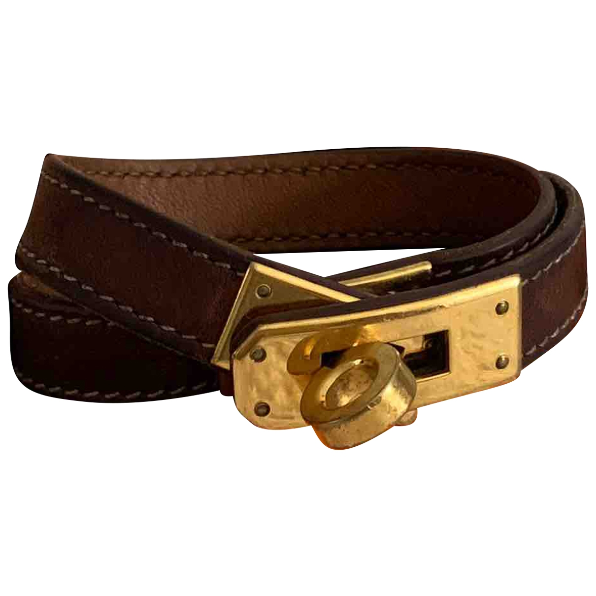 Hermès Kelly Double Tour Gold Leather bracelet for Women \N