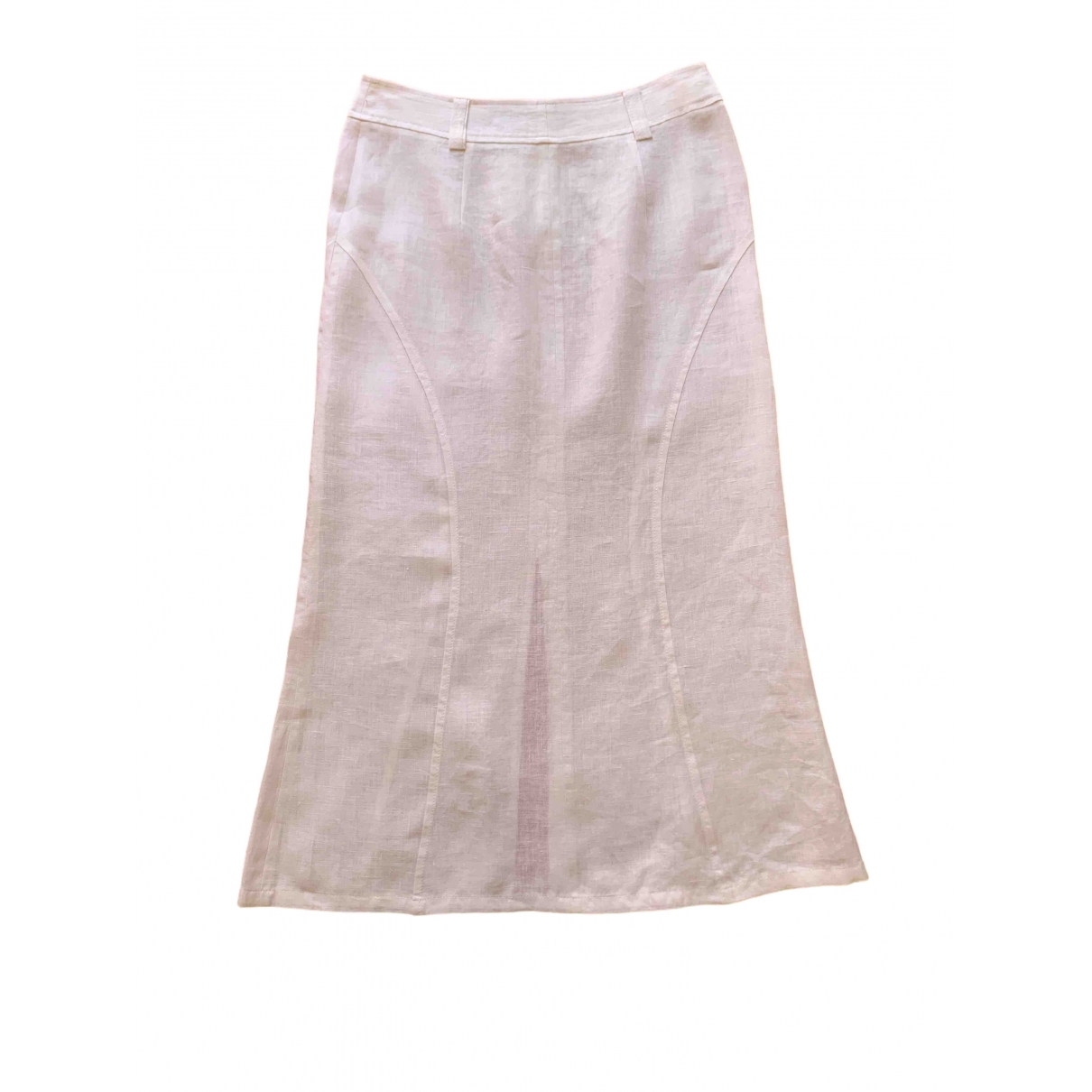 Non Signé / Unsigned \N White Linen skirt for Women 42 IT