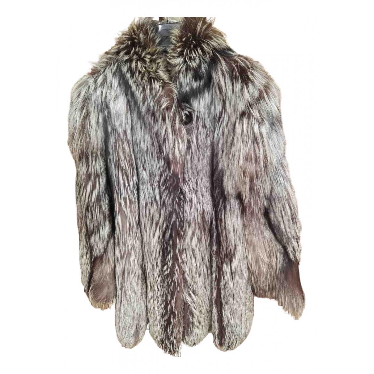 - Manteau   pour femme en renard - gris