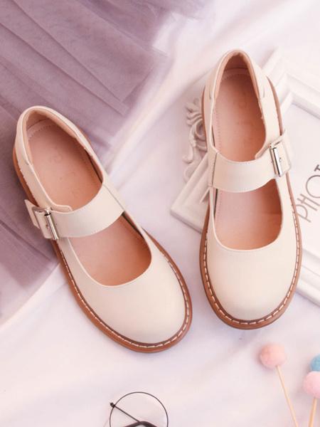 Milanoo Sweet Lolita Shoes Cowhide Round Toe Buckled Apricot Lolita Footwear