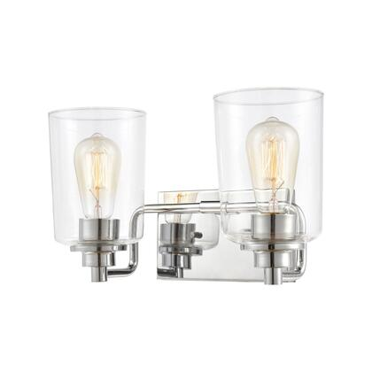 46621/2 Robins 2-Light Vanity Light in Polished Chrome with Clear