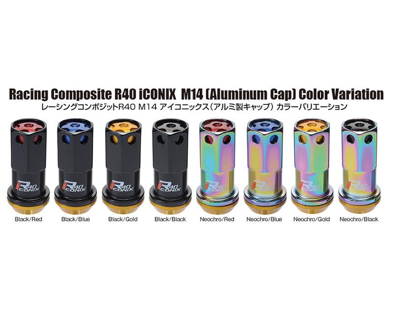 Project Kics R40 Iconix NeoChro M14x1.25 Lock & Lug Nuts Set w/ Gold Aluminum Cap