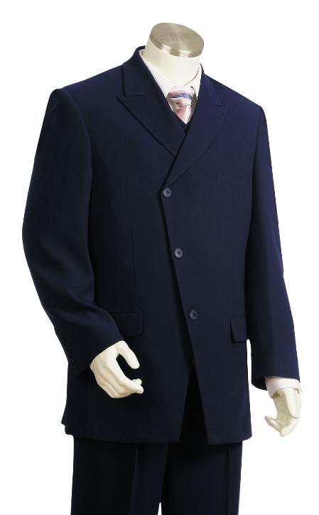 3 Piece 3 Button Navy Zoot Suit Mens