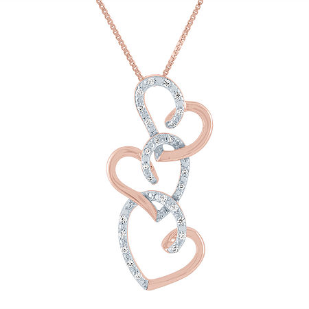 Womens 1/10 CT. T.W. Genuine Diamond 14K Rose Gold Over Silver Heart Pendant Necklace, One Size , No Color Family