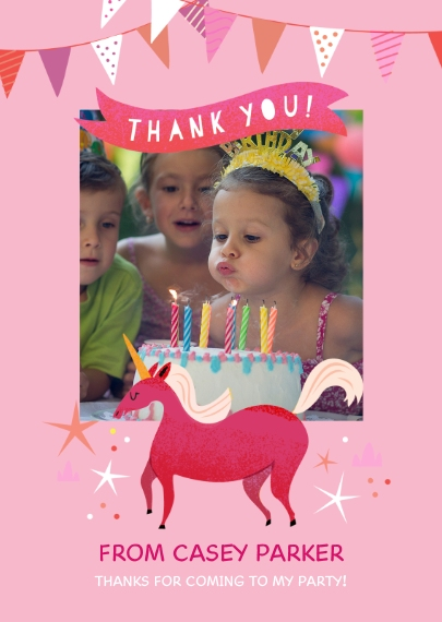 Kids Thank You Cards 5x7 Folded Cards, Standard Cardstock 85lb, Card & Stationery -Birthday Unicorn - Thank You