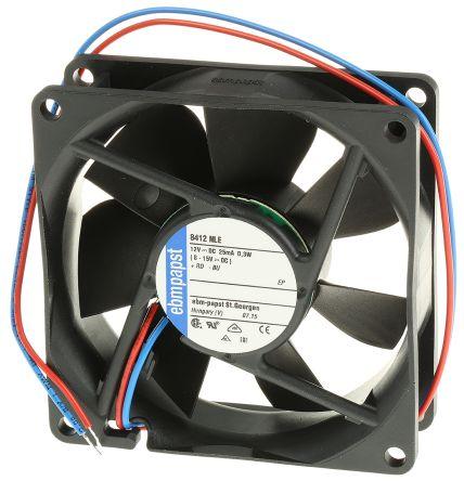 ebm-papst , 12 V dc, DC Axial Fan, 80 x 80 x 25mm, 33m³/h, 300mW