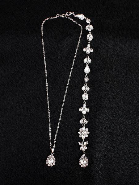 Milanoo Collar nupcial de plata del collar del fondo de la boda Joyeria nupcial moldeada del Rhinestone