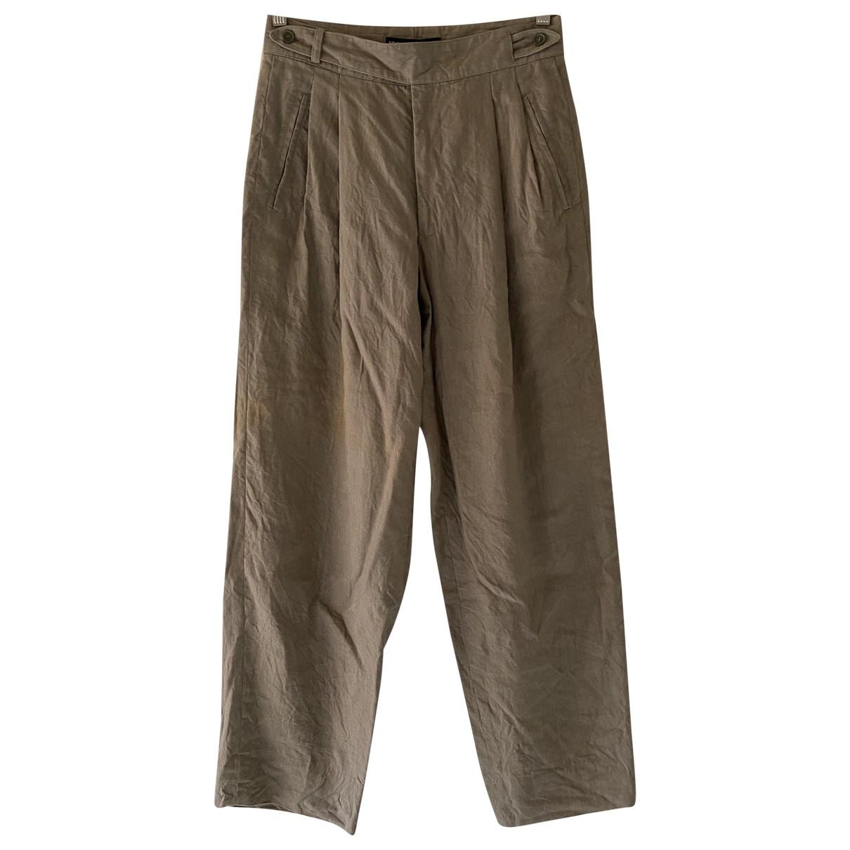 Issey Miyake \N Khaki Linen Trousers for Men 28 UK - US