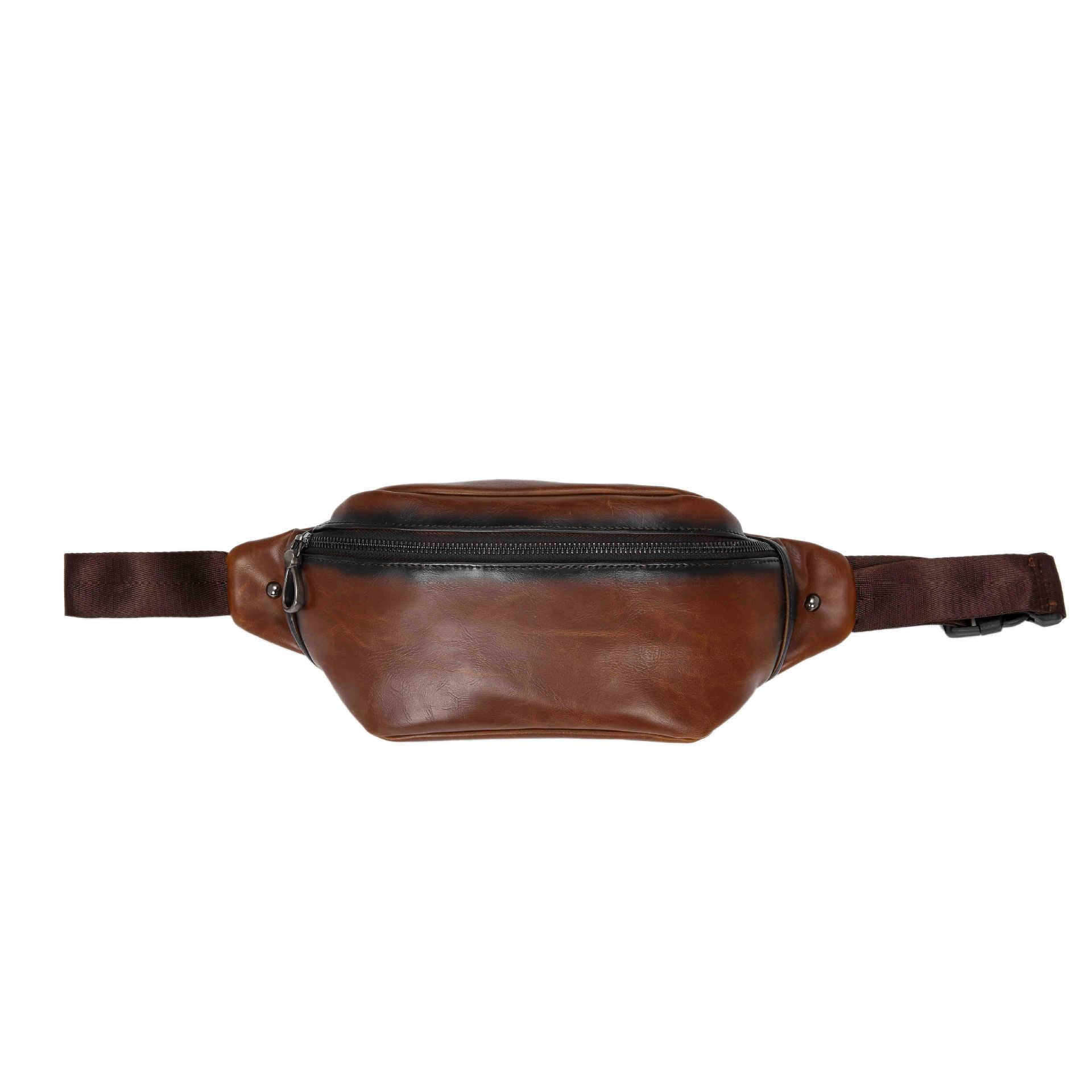Men Faux Leather Waist Bag Outdoor Phone Crossbody Chest Bag