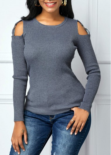 Women'S Grey Long Sleeve Cutout Shoulder Sweater Round Neck Casual Top By Rosewe - L