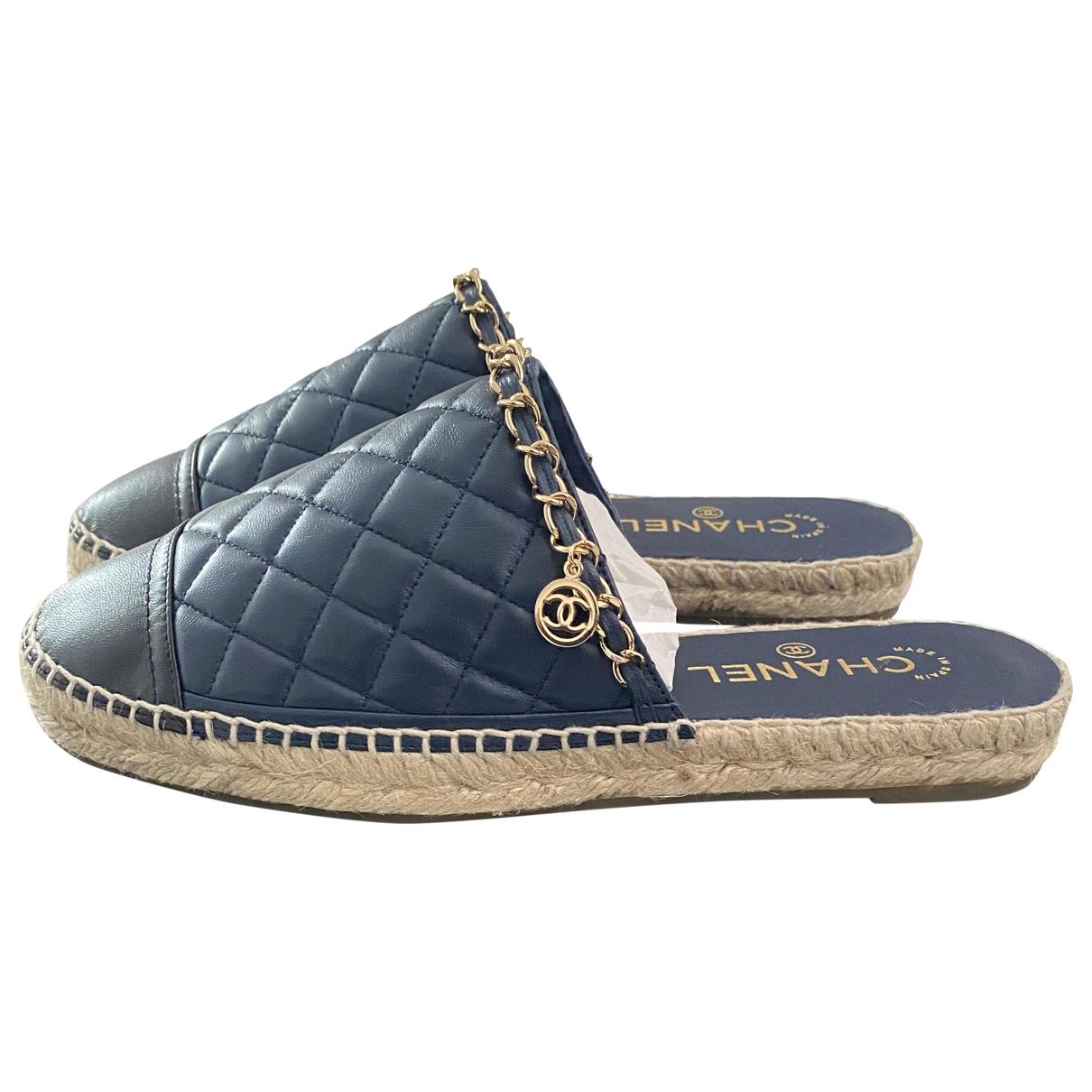 Chanel - Espadrilles   pour femme en cuir - marine