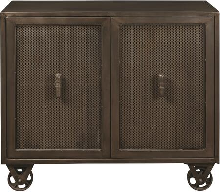 DS-P006005 Hyde Two Door Accent Chest with Trolley-Style Wheels  Two Doors and One Adjustable Wood Shelf in