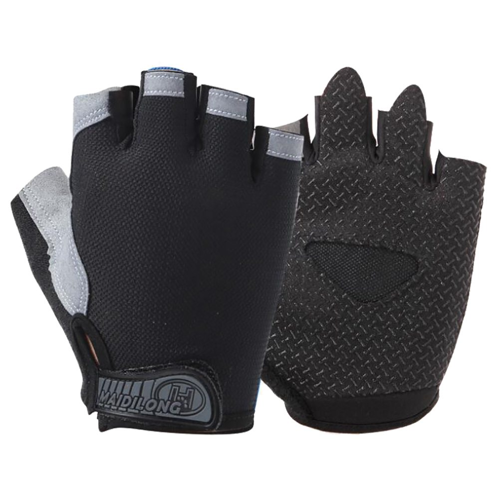Outdoor Sports Cycling Half Finger Gloves Absorbing Sweat Design Size L - Black And Gray