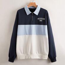 Letter Colorblock Half Zip Sweatshirt