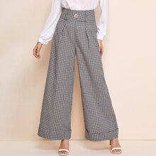Button Detail Wide Waistband Houndstooth Palazzo Cuffed Pants