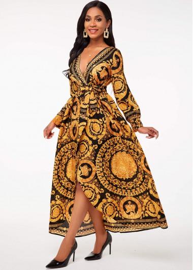 Wedding Guest Dress Belted Bohemian Print V Neck Dress - S