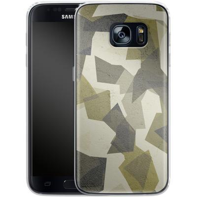 Samsung Galaxy S7 Silikon Handyhuelle - Geometric Camo Green von caseable Designs
