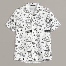 Men Mixed Print Revere Collar Shirt