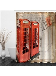 3D Red Telephone Box Printed Polyester Waterproof and Eco-friendly Shower Curtain