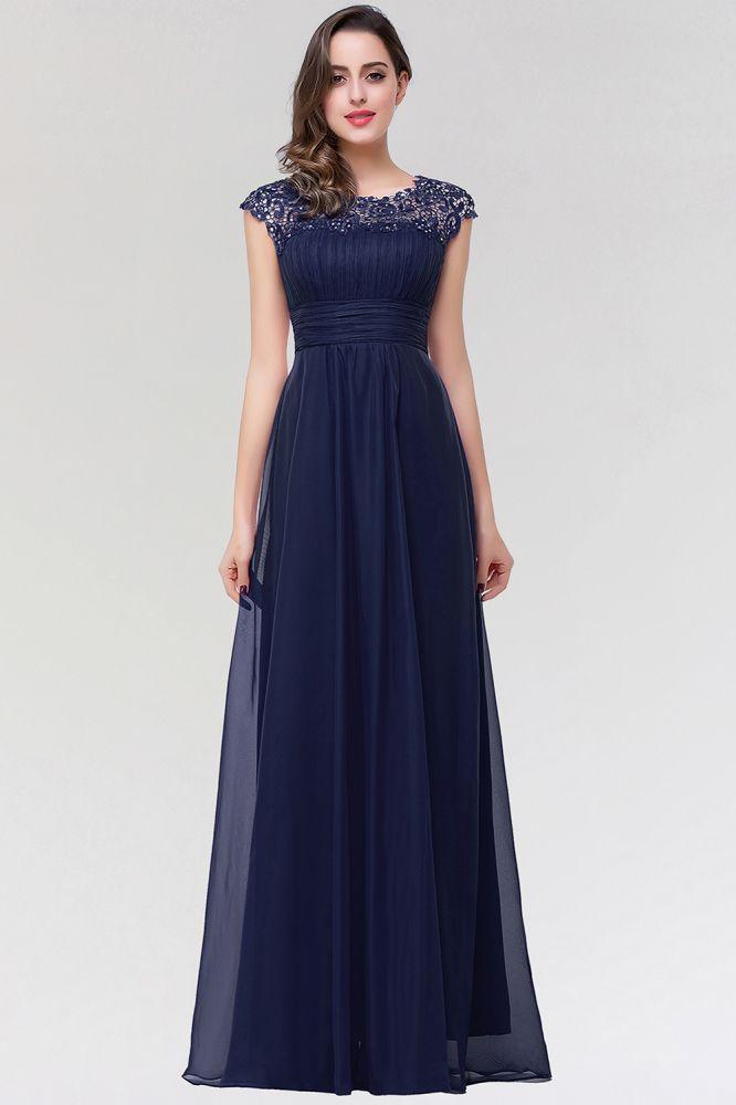 EMMELINE | A-Line Cap Sleeves Floor-Length Chiffon Prom Dresses