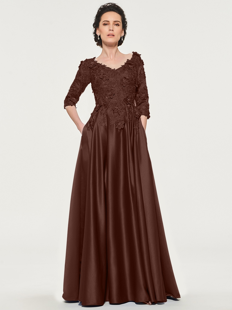 Ericdress Appliques Flowers Half Sleeves Mother of the Bride Dress