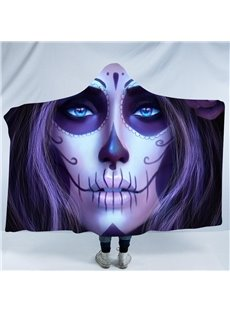 Purple Human Face 3D Printing Polyester Hooded Blanket