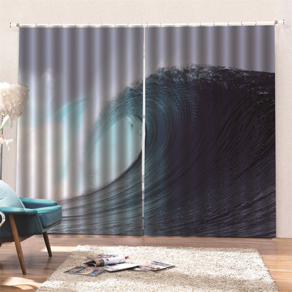 Blackout Creative Window Curtains 3D Sea Wave Print 260 Gram Weight for Better Shading Effect and Water-Repellent Fabrics Non-PVC