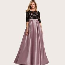 vestido de fiesta de saten fruncido con encaje de cintura con lazo