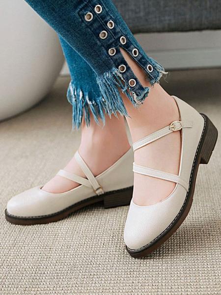 Milanoo Lolita Footwear Round Toe PU Leather Strappy Lolita Pumps