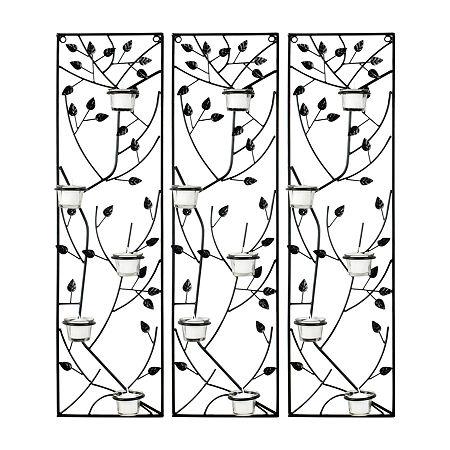 Safavieh Margot Tea Light Leaves Trees + Leaves Metal Wall Art, One Size , Black