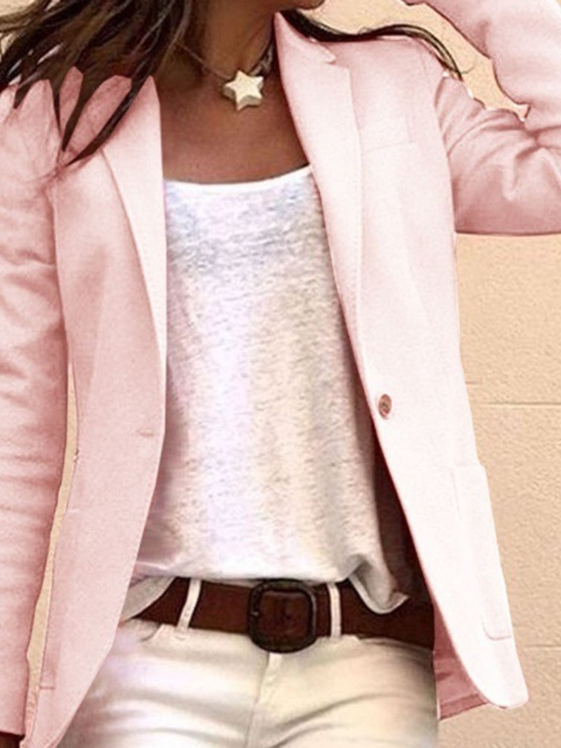 Ericdress One Button Notched Lapel Long Sleeve Mid-Length Regular Casual Blazer