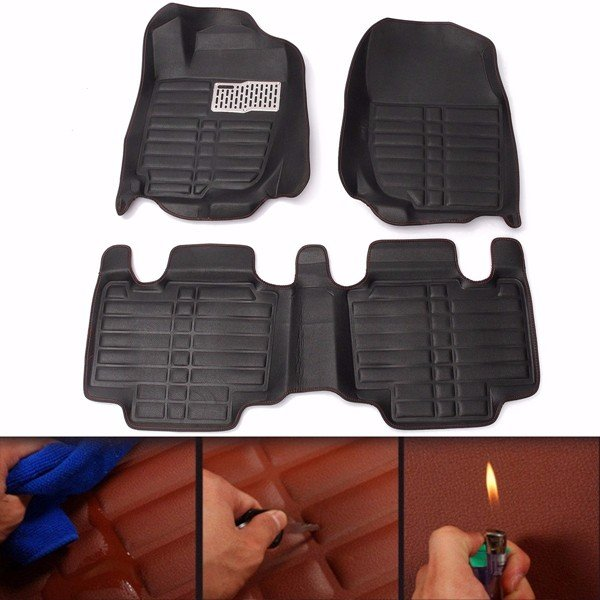 Full-Encased Leather Indentation Car Floor Mat Front Rear Liner Waterproof Mat For Toyota RAV4 13-16