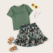 Girls Slogan Embroidery Top & Ruffle Hem Floral Skirt Set