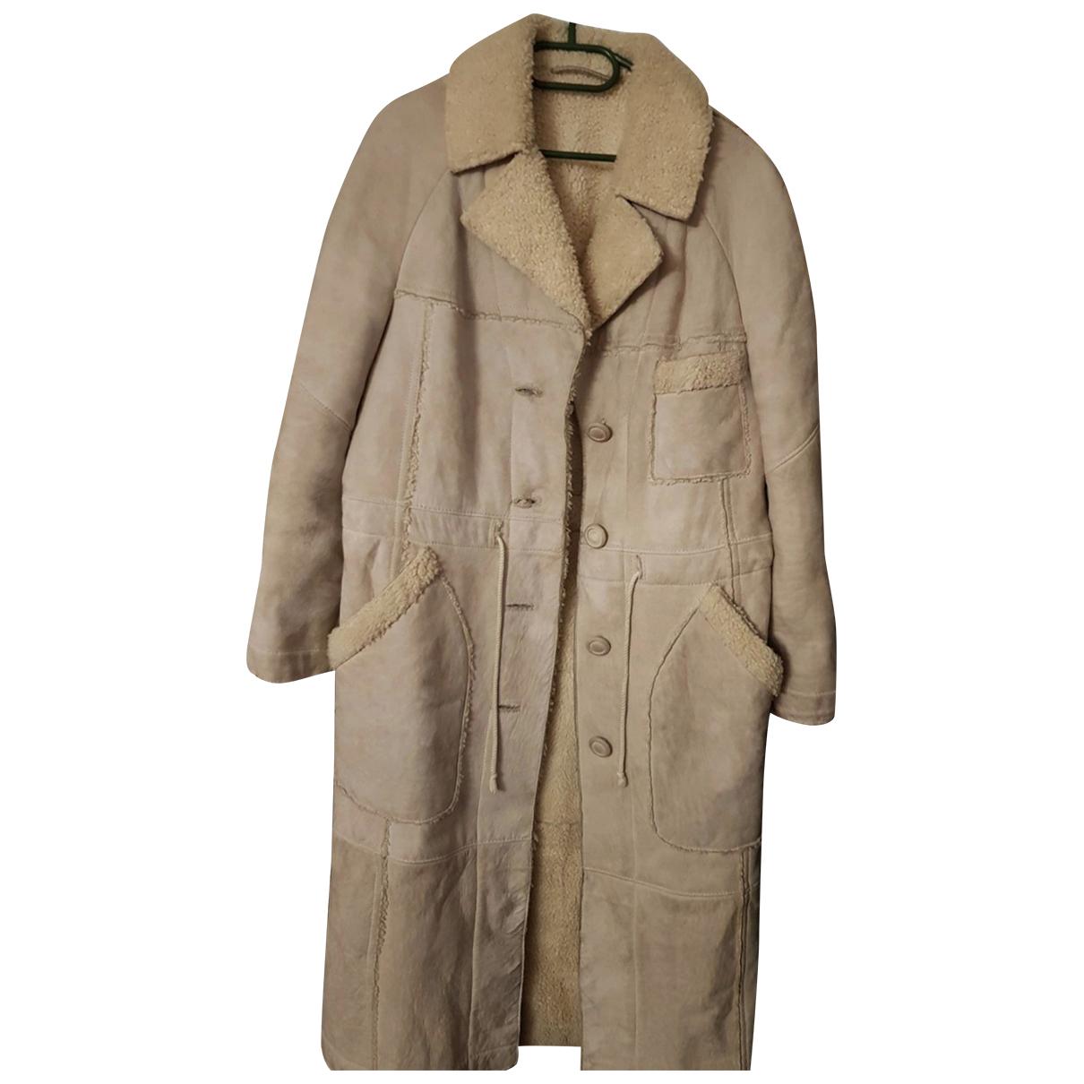 Autre Marque N Beige Leather coat for Women 40 FR
