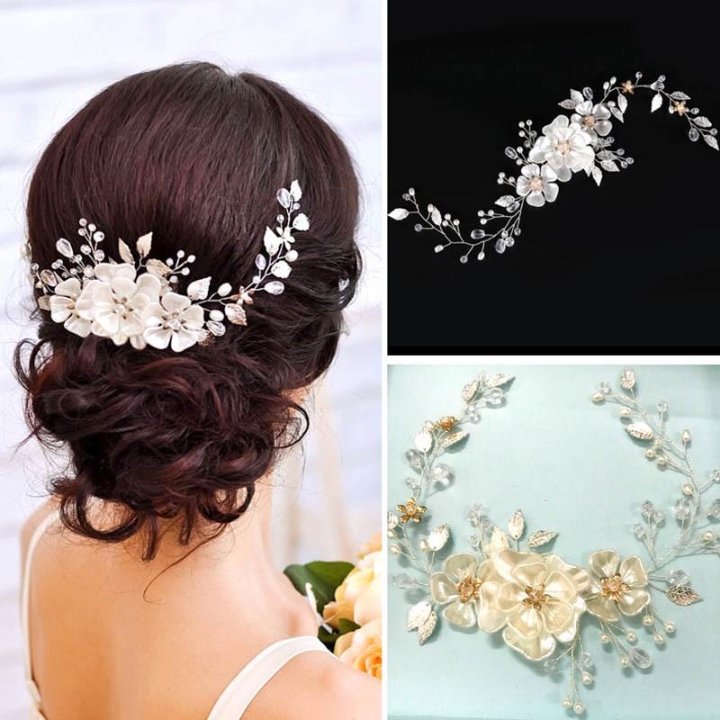 Ericdress White Leaves Handmade Pearl Hair Accessories