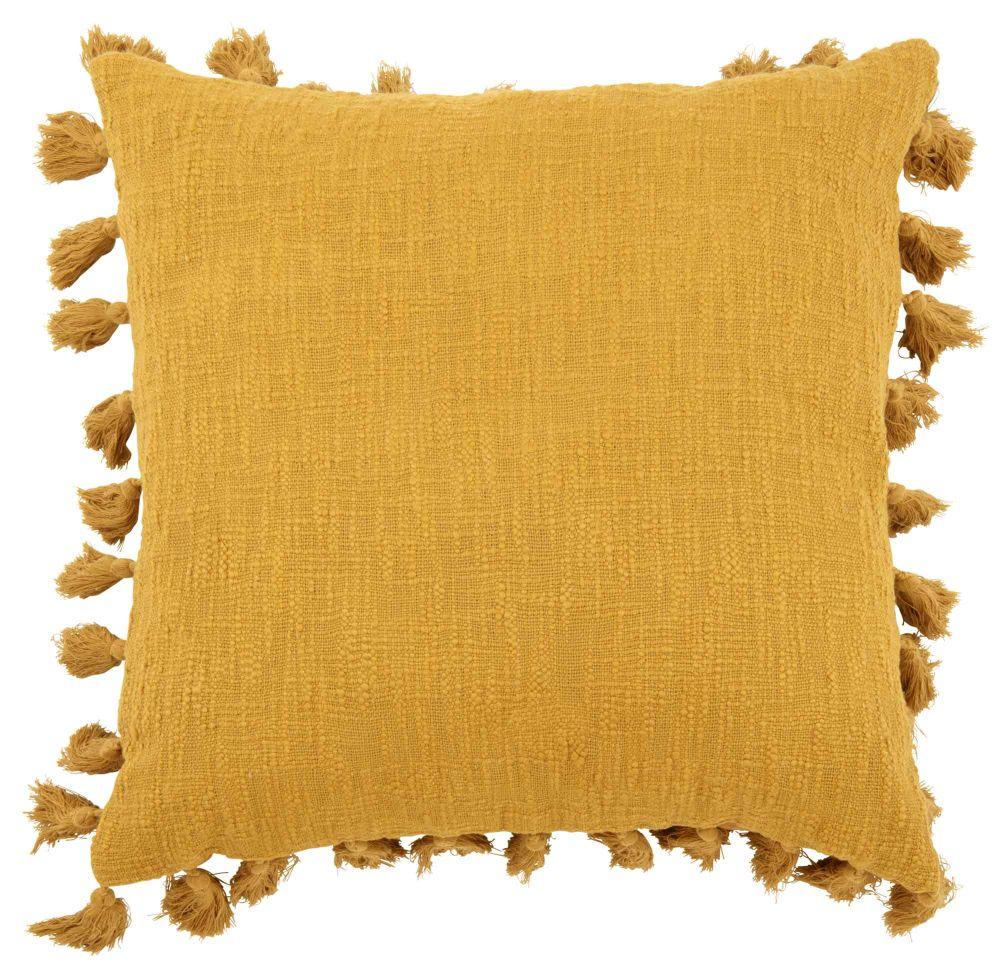 Baumwollkissen mit Pompons, gelb 50x50