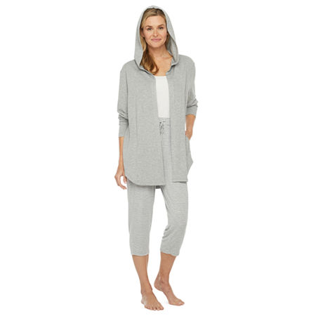 Ambrielle Womens French Terry Pajama Top Hooded Neck, Small , Gray