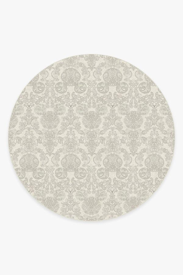 Washable Rug Cover | Mickey Damask Light Grey Rug | Stain-Resistant | Ruggable | 8 Round