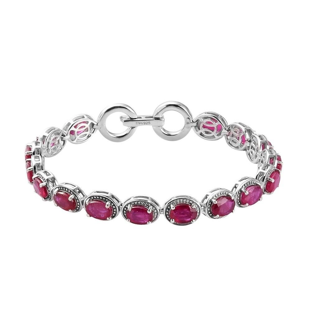 925 Sterling Silver Ruby Bracelet Size 7.25 Inch Ct 19.2 - Bracelet 7.25'' (Red - Ruby - Red - Bracelet 7.25'')